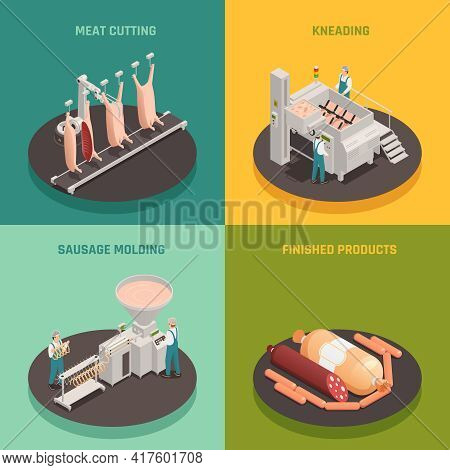 Meat Cutting, Kneading And Sausage Molding, Finished Products, Factory Equipment, Isometric Design C
