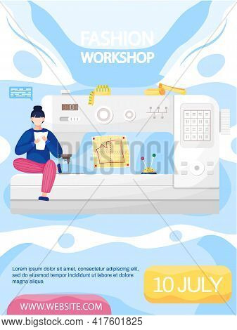 Female Seamstress Making Clothes With Sewing Machine In Studio. Fashion Workshop Concept Poster