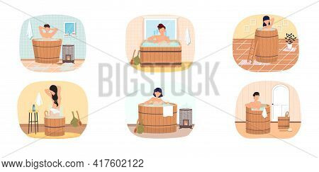 Set Of Illustrations On Topic Of Pastime In Bath. People Are Resting In Sauna In Wooden Barrels