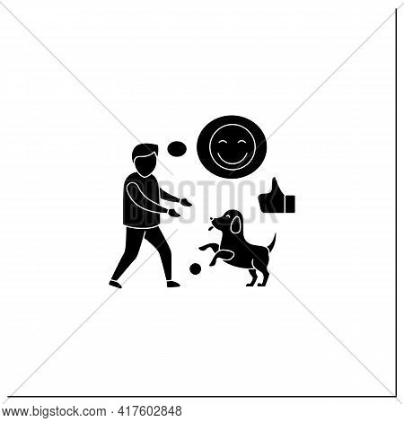 Pets Benefits Glyph Icon. Dog Play With Boy. Positive Emotions. Learn Responsibility, Compassion, Em