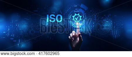 Iso Standard Certification Standardisation Quality Control Concept On Screen