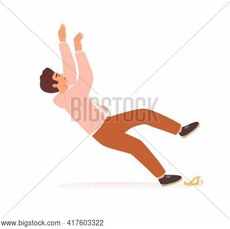Careless Person Slipping On Slippery Banana Peel And Falling Down. Concept Of Risks, Failure, Life O