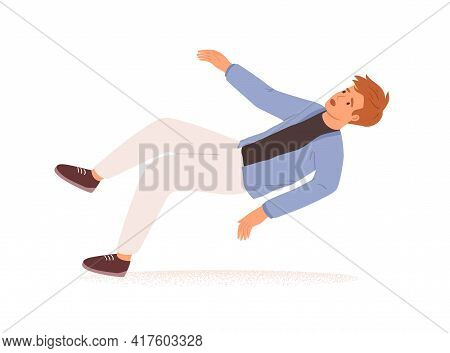 Person Falling Down. Fall Or Failure Of Young Man Isolated On White Background. Psychological Concep