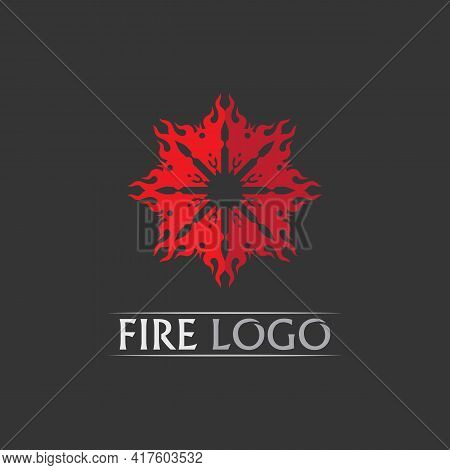 Fire Flat Logo And Flame Set Vector Icon, Hot Flaming Element Vector Flame Illustration Design Energ