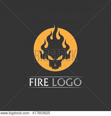 Fire Flame, Fire Skull Head Vector Illustration Design Template Power, Hot, Icon, Logo, Light, Devil