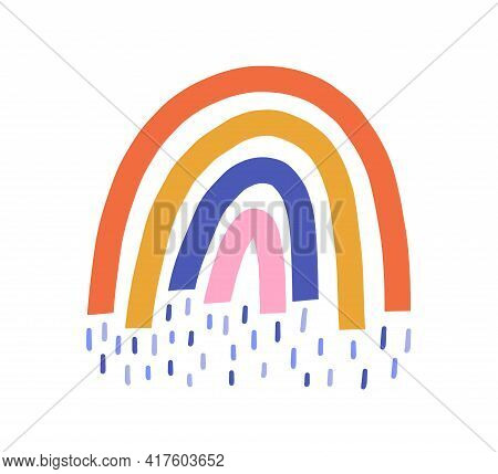 Cute Funny Multicolored Rainbow With Magic Rain Isolated On White Background. Sweet Childish Drawing