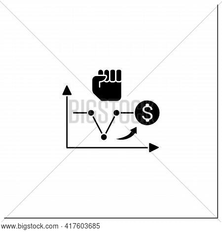 V Shaped Recovery Glyph Icon. Fluctuations.economic Decline, Short Trough, Rapid Recovery Periods. B