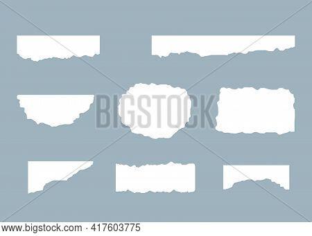 Torn Paper, Rip Sheet, Scrap White Set. Vector