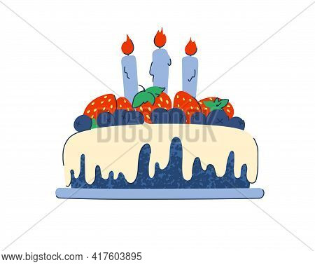 Cake With Icing And Holiday Candles For A Birthday Or Holiday. Decorated With Blueberries And Strawb