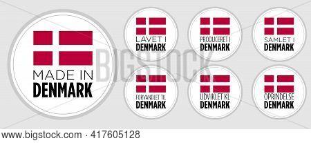 Set Of Badge Logotype Made In Denmark, Lavet I Denmark, On White Round Background, Symbol Logo For P