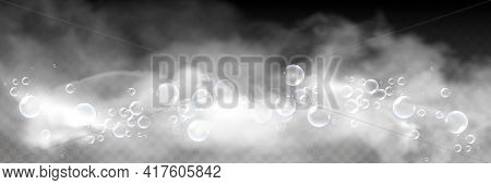 Bath Foam With Shampoo Bubbles Isolated On A Transparent Background. Vector Shave, Foam Mousse With
