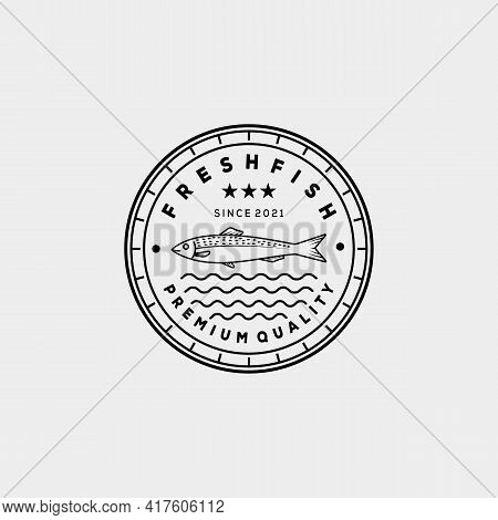Smoked Grilled Fish Restaurant Line Art Logo Template Vector Illustration Design. Linear Anchovy, Tu