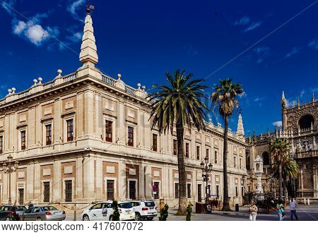 Seville, Andalusia, Spain - May 12, 2013: View Of The Building Of Archive Of The Indies.