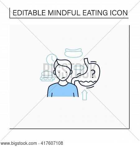 Hunger Signals Line Icon. Hunger, Growling Stomach. Eating Intuitively. Conscious Nutrition. Mindful