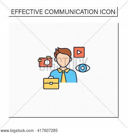 Visual Communication Color Icon. Communicate Using Signs, Typography, Drawing, Video Clip, Advertisi