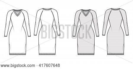 V-neck Dress Sweater Technical Fashion Illustration With Long Raglan Sleeves, Slim Fit, Knee Length,