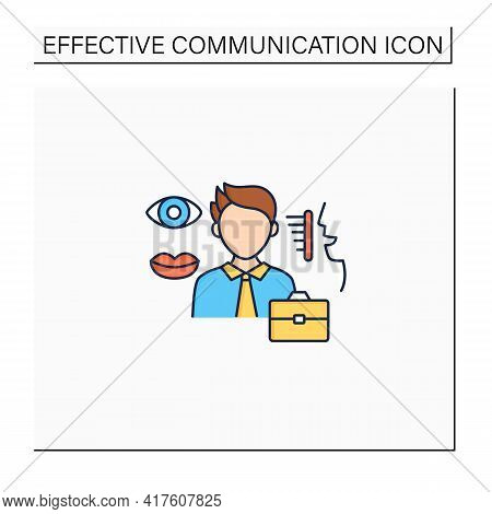 Non Verbal Communication Color Icon. Communicate Using Gestures, Facial Expressions, Eye Contact, Po