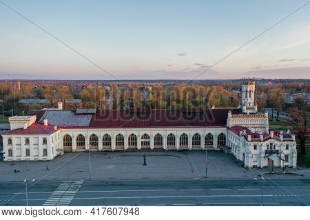 Panoramic Aerial View Of The New Peterhof Railway Station In The Pseudo-gothic Style. The Western Fa