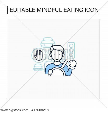 Mindful Eating Line Icon. Eating In The Car. Unconscious Nutrition In Traffic Jam.avoid Overeating C
