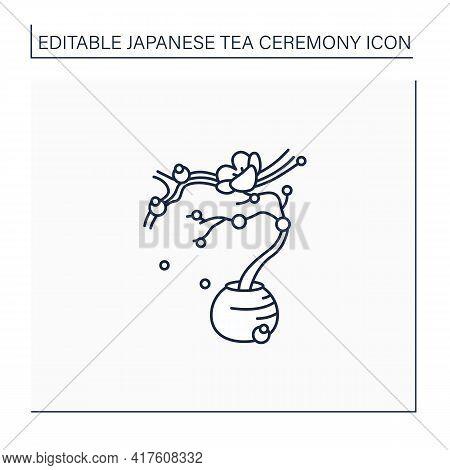 Flower Arrangement Line Icon. Japanese Bonsai Tree. Small Trees In Peas For Ornamental Garden. Sakur