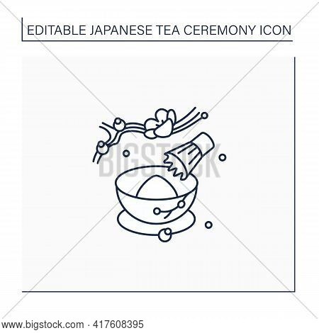 Tea Whisk Line Icon. Special Whip For Matcha Powder. Teatime Traditions. Tea Ceremony Concept.isolat