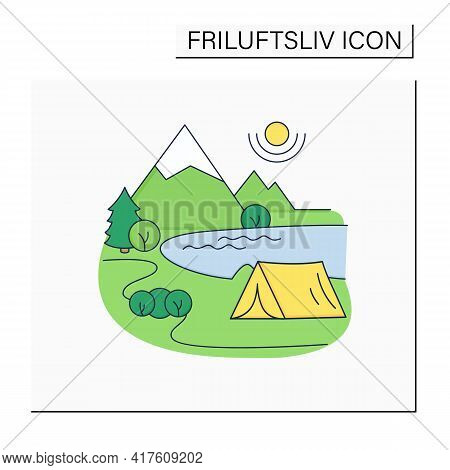 Camping Color Icon.tent On River Landscape Background. Nice Weather. Adventure Tourism. Green, Eco T