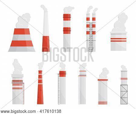 Factory Chimneys Flat Vector Illustrations Set. Smoking Industrial Smokestacks Pack. Factory Pipe. A