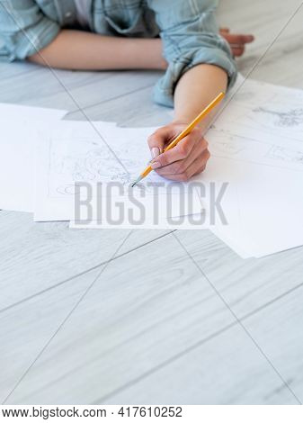Drawing Art. Creative Hobby. Graphic Design. Craft Skill. Left-handed Woman Artist Sketching With Pe