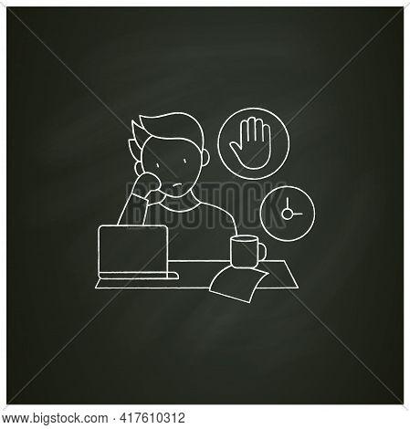 Stop Procrastinating Chalk Icon.ready To Work. Minimize Distractions. Commit Tasks.procrastination C