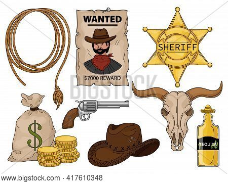 Wild West Set Cowboy. Wild West Cartoon Icons Set With Cowboy Hat Dynamite And Cactus