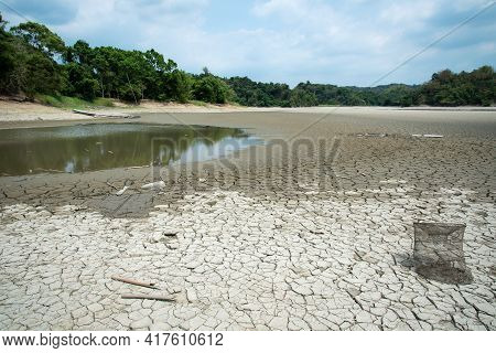 Drought Lake In Guantian, Tainan, Taiwan. Lack Of Water Concept.