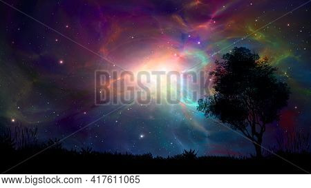 Space Colorful Fractal Nebula With Tree And Land Silhouette. Digital Magic Landscape Illustration Pa
