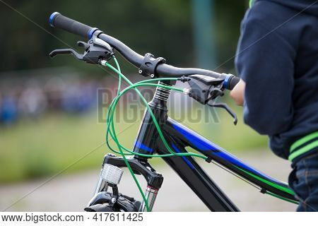 Bicycle With Gear Shift, Brakes And Handlebars