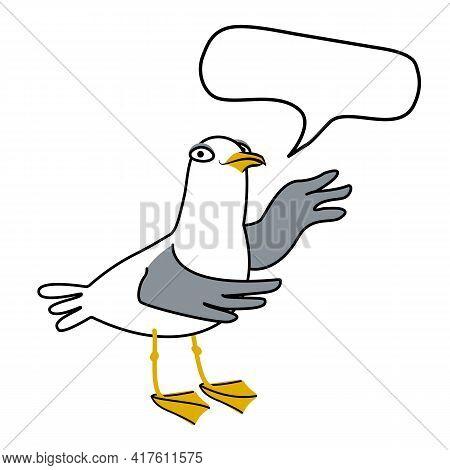 Important Information, Caution, Gesture, Demonstration, Communication Concept. Fun Cartoon Seagull D