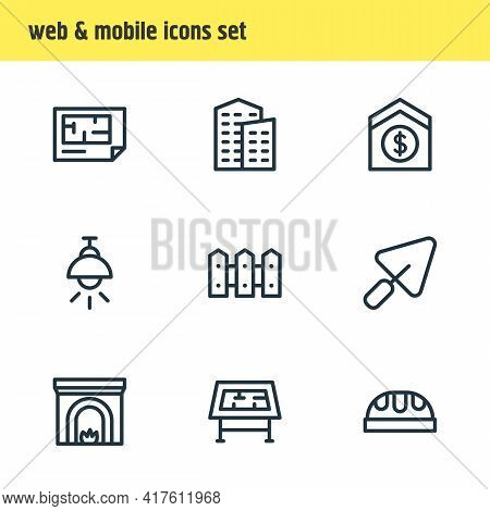Vector Illustration Of 9 Architecture Icons Line Style. Editable Set Of Lamp, Fireplace, Building An