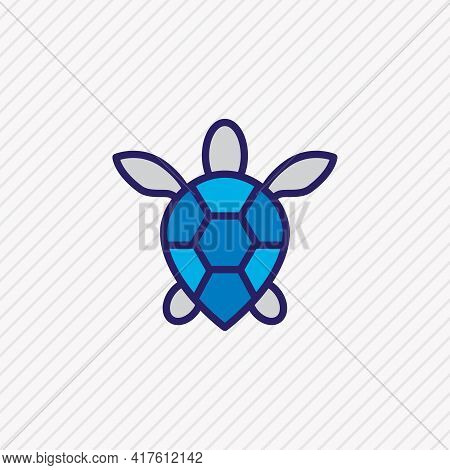 Vector Illustration Of Sea Turtle Icon Colored Line. Beautiful Maritime Element Also Can Be Used As