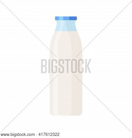 Glass Bottle Of Milk Isolated Icon On White Background. Colorful Vector Milk Glass Container Icon. F