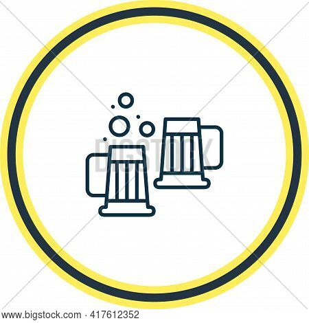 Illustration Of Beer Steins Icon Line. Beautiful Beverages Element Also Can Be Used As Draught Icon