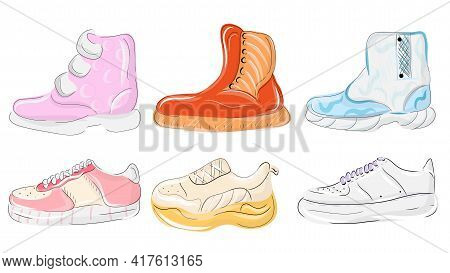 Various Shoes Icons Collection. Boots, Sport Shoes, Sneaker, Hiking Footwear And Other Shoes For Tra