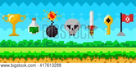 Pixel Art Game Background With Reward Object In Air. Pixel Game Scene With Grass Platform And Awards