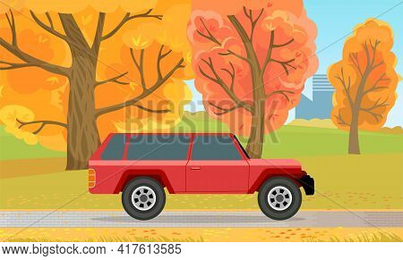 Automobile On Background Of Autumn Forest Landscape. Red Crossover, Suv, Cross Country Car