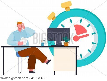Deadline Concept With Stressed Office Worker. Company Nervous Employee Worried Because Of Poject