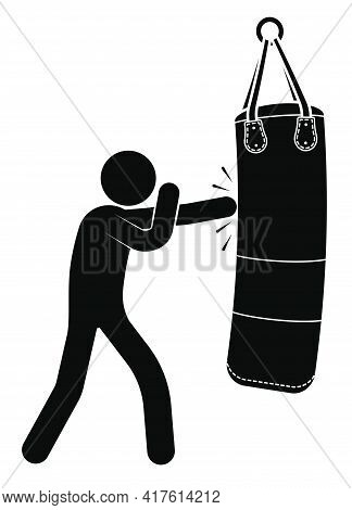 Stick Man, Boxer Beats Big Punching Sand Bag For Sports Training. Training In Boxing Gym. Black And
