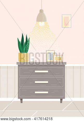 Wooden Commode With Drawers Isolated On White Background. Photo Frames With Pictures On Closet