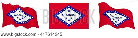 Flag Of American State Of Arkansas In Static Position And In Motion, Fluttering In Wind In Exact Col