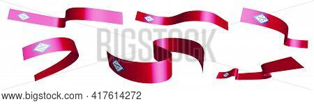 Set Of Holiday Ribbons. Flag Of American State Of Arkansas Waving In Wind. Separation Into Lower And