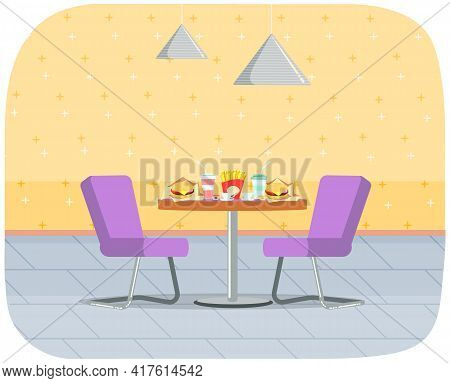 Fast Food Establishment. Restaurant Or Cafe Interior Design. Table With Junk Food And Cocktails