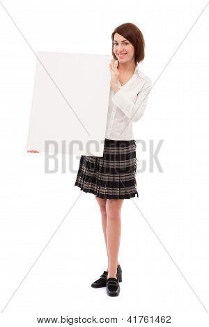 Businesswoman Holding Blank Board
