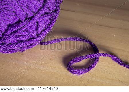Photo Of Colored Balls From Knitting Yarn. Knitting Supplies Close-up. Knitting-women\'s Needlework.