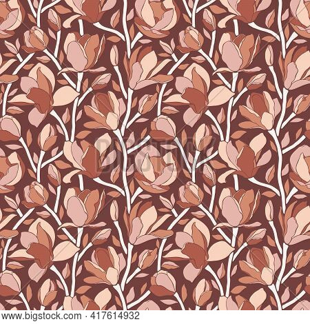 Seamless Pattern With Magnolia Flowers. Trendy Minimalistic Style, Branches With Blooming Buds. Flor